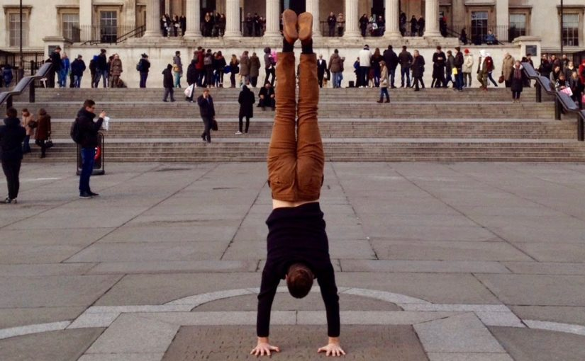 Picture of myself in a handstand at Trafalgar Square, London